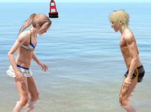 仲良く海水浴デート。少々カップリングがおかしいが、これぞ青春の一コマだ!