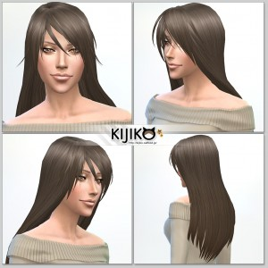 Sims4 hair/ fron,side,back  シムズ4 髪型 詳細 非透過タイプです。珍しくロングヘアーですよ。