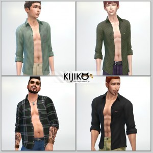 Open Shirt for the SIms4  シムズ4 服、前空きシャツです。各体型にも対応してます。