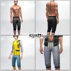 Short Pants for the Sims4,short length and Sporty Look シムズ4 服、スポーツ用っぽいショートパンツです。