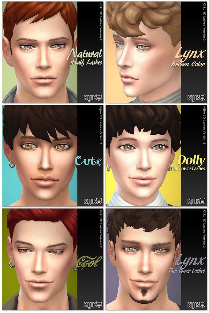 3D Lashes for the Sims4 / Regulat Length styles シムズ4 3Dまつ毛 こちらは通常の長さの各まつ毛デザインです。男性に使用してみました。