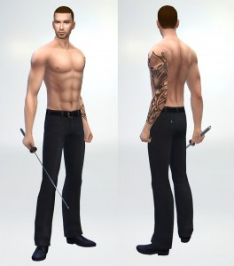 できました!併せてシムを作ってみたんですが、いい感じのジャパニーズスタイルな刺青がないのが残念。