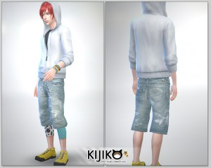 Relaxed Jeans for the Sims4 / Short Length シムズ4 服 リラックスジーンズです。こちらは短い丈タイプです。膝丈です。