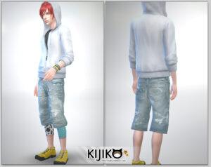 Relaxed Jeans for the Sims4 / Short Length シムズ4 服 リラックスジーンズです。こちらは短い丈タイプです。膝丈です。