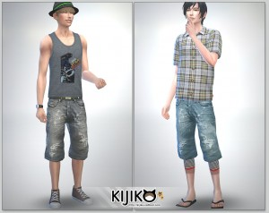 Relaxed Jeans for the Sims4 / ShortLength シムズ4 服 リラックスジーンズです。こちらは短い丈タイプです。