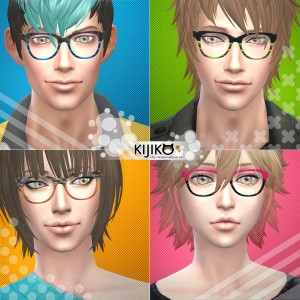 Eyeware for the Sims4 6 colors シムズ4 メガネ セミスクウェアタイプです。全6色。
