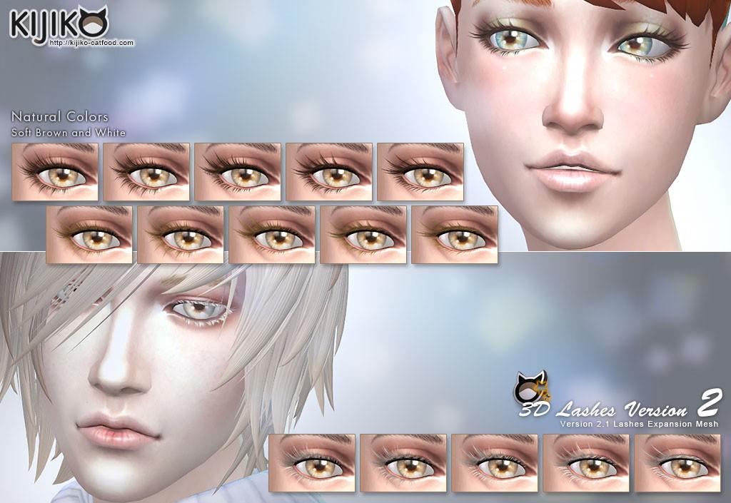 3D Lashes for the Sims4 / Long and New styles シムズ4 3Dまつ毛 新しいロングスタイルを追加しました。やや柔らかめな色合いをセットにしました。