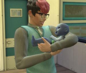 オタク特質持ち、パンダ家長男エリク君。オタクにとって世帯のシムがエイリアンを生むなんて嬉しいはず。おぉ、何かエリ子も懐いてるっぽい感じ。