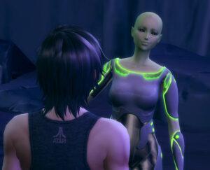 女性エイリアン発見!でも、肌の色からしても、エリ子の母とは違うようです。この後、暫くしシグザム星を探索してみたんですが、それらしいエイリアンはいませんでした。ちょっと残念。