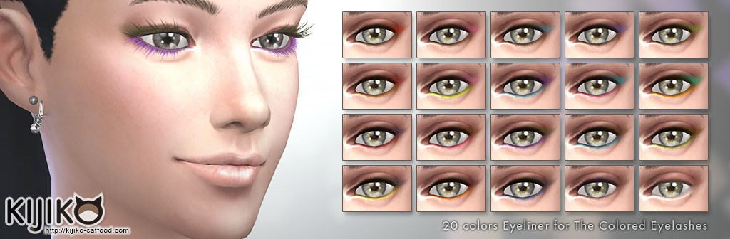 Sims4 Makeup 20 colors eyeliner for colored lashes シムズ4 カラー3Dまつ毛用 アイライナー 20色