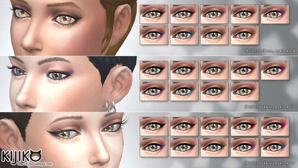 Make up for the Sims4  Eyeliner pack  シムズ4 アイライナー セット