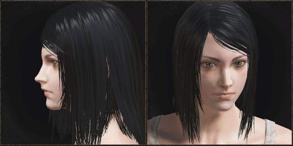 明るい髪色はゲーム中だとだいぶ見え方が変わるので調整が難しいですが、黒髪は安定な気がする。