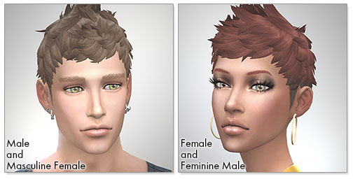 for the Sims4,Faux hawk TS4 edition シムズ4 髪型 Faux hawk TS4 editionです。女性にも使えるようになりました。