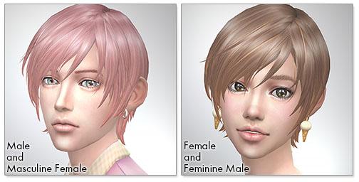 for the Sims4.Round Bob シムズ4 髪型 Round Bobです。女性にも使えるようになりました。