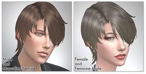for the SIms4,Gloomy Bangs シムズ4 髪型 Gloomy Bangsです。女性にも使えるようになりました。
