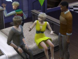 さらにその後、もう一人の恋人Get Togetherで追加されたシム、フィアスさんもやってきました。この人既婚者で、世帯の説明文では愛妻家みたいな事が書かれてたような気が・・・
