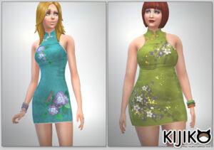 A slim sim and a chubby sim tried the dress on.