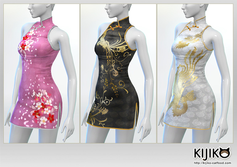 Short length Cheongsam dress for the Sims4  シムズ4 用 チャイナドレス