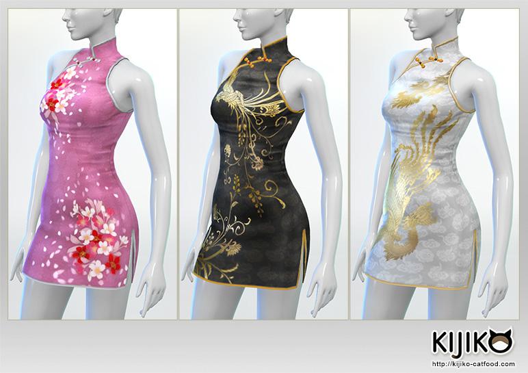 Short length Cheongsam dress for the Sims4  シムズ4 用 チャイナドレス