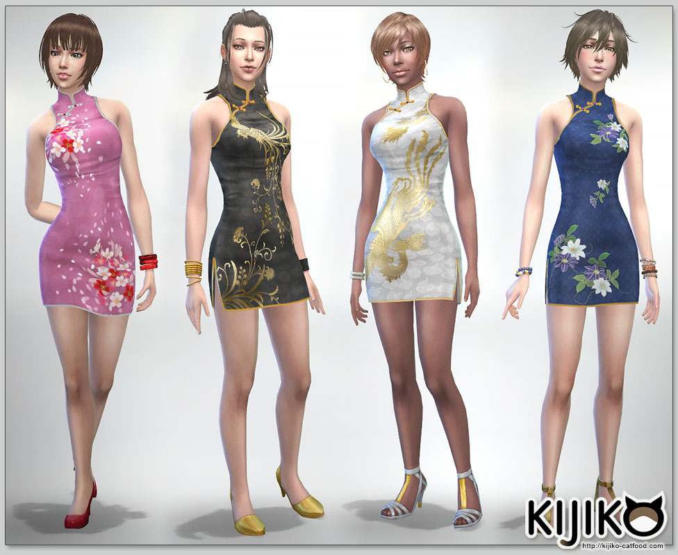 Short length Cheongsam dress for the Sims4  シムズ4 用 チャイナドレス This dress can be used for all genders and masculine and feminine frame....but I recommend to use it for feminine frame.